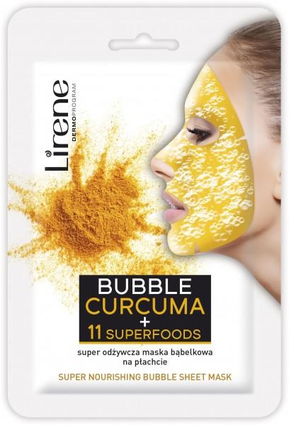 Lirene - BUBBLE CURCUMA MASK + 11 SUPERFOODS - Super nutritious bubble mask on th