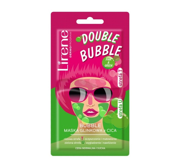 Lirene - DOUBLE BUBBLE - PINK & GREEN - CICA clay facial mask