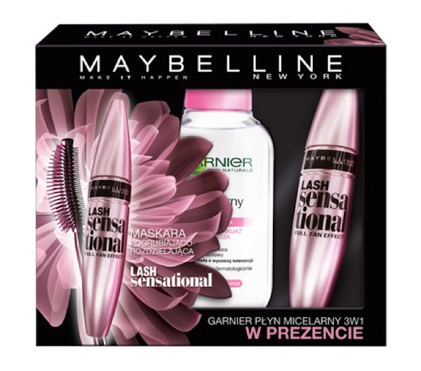 MAYBELLINE - Cosmetics Gift Set - Lash Sensational Mascara + Micellar liquid 3in1 Garnier