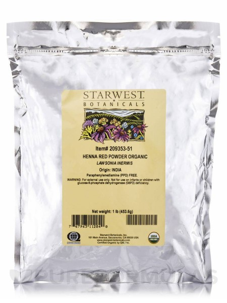 Starwest Botanicals, Organic Henna Powder, Red