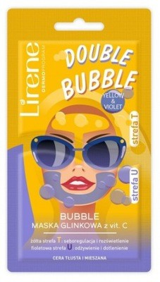 Lirene - DOUBLE BUBBLE - YELLOW & VIOLET - Clay face mask with vitamin C