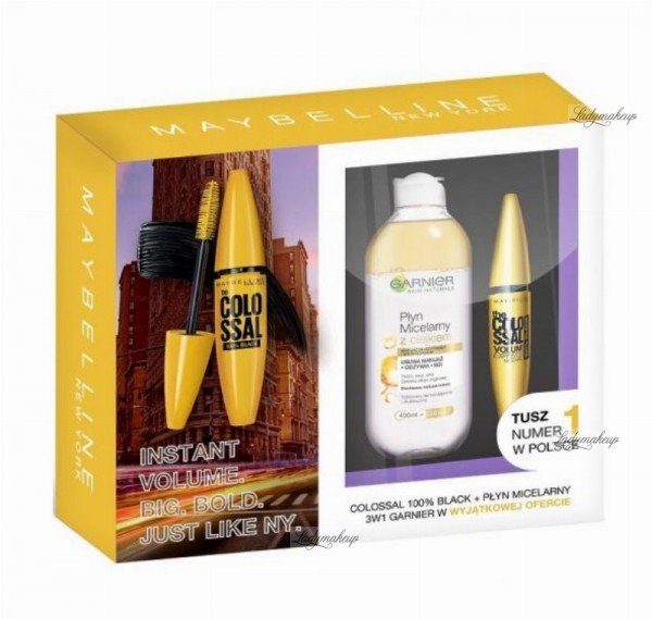 MAYBELLINE - Gift set of cosmetics - The Colossal Ink + Micellar Liquid with Garnier Oil